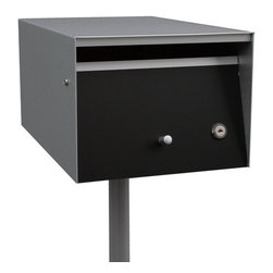 Box Design - Letterbox, Front Open, Zincalume, Red, No Lock, Flag, Steel Post - Front opening letterbox from the Urban design, ideal to be grouped in banks for multiunit complexes and neighborhoods.