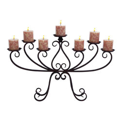 Benzara - Kool Candelabra Centerpiece With Iron Alloy - Everyone loves a romantic dinner at home. What better way to light it then with this elegant candelabra as the centerpiece? This dark iron alloy candelabra holds seven candles at slightly varying heights with a serpentine iron scrollwork forms the base only and the ends. Its elegance also makes it perfect for resting beside the bathtub during a long escape.