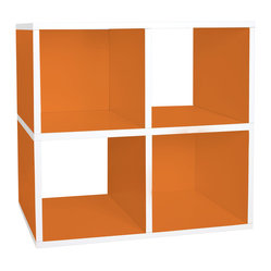 Way Basics - Quad Cube, Orange - The smartest storage — cubed! Super simple to assemble (no tools, no hardware; just peel and press) and designed as a single unit, it boasts two boxes with backs and two that are open to accommodate all manner of matter. Formaldehyde- and VOC-free, so it's safe for people, the planet, everything but clutter!