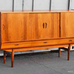 Mid Century Mobler: Past Collections - Danish modern tall mid century credenza / sideboard in Brazilian rosewood.