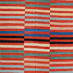"""ALRUG - Handmade Multi-colored Oriental Kilim  6' 6"""" x 9' 1"""" (ft) - This Afghan Kilim design rug is hand-knotted with Wool on Wool."""
