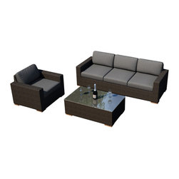 Harmonia Living - Arden 3 Piece Modern Wicker Sofa Set, Charcoal Cushions - Give your outdoor space a spectacularly comfortable appeal with the 3 Piece Arden Sofa Set with Gray Sunbrella® Cushions (SKU HL-ARD-3SS-CH-CC). Made from a textured Chestnut finished wicker composed of UV treated High-Density Polyethylene (HDPE), the Arden Collection was designed with a rustic, yet modern appeal with its clean lines and subtle minimalist approach to outdoor furniture. Each cushion is made from Sunbrella® fabric, ensuring a fade and water resistant cushion that's designed to withstand any weather. The coffee table is topped with a tempered glass top, giving it a shimmering, easily maintained accent table.