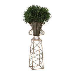 """Sterling Industries - Oversized Planter in Antique Gold - Standing 66"""" high this statement planter is the ideal welcoming piece at each side of an entrance. Finished in a dark gold tone with antique, it comes complete with a metal receptacle that holds the plant and contains water."""