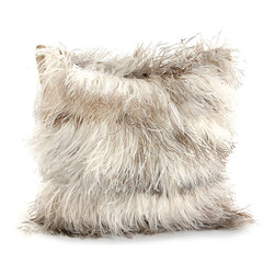 Ostrich Feather Pillow - Salt & Pepper - A playful pillow gorgeously fashioned from a panoply of salt and pepper ostrich feathers. The square design of the Ostrich Feather Pillow is generously enhanced with an abundance of feathers that impart a fine yet generous beauty to this accent piece. A fanciful addition to the appointments of a great room, sitting area, or foyer.
