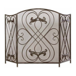 Uttermost - Uttermost Effie Fireplace Screen in Aged Black - Made of hand forged metal, this screen features a distressed aged black finish with chestnut brown undertones.