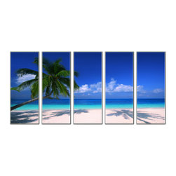 Vibrant Canvas Prints - Canvas Art Prints, Framed 3 Panel Sea Beach Bridge Nature Paintings - This is a beautiful, 100% quality cotton canvas print. This print is perfect for any home or office, and will make any room shine with its addition of color and beauty.  - Free Shipping - Modern Home and Office Interior Decor   Sea Beach Canvas Designs - 5 Panel Print   Sea Beach Tree Shade Print on Canvas - Wall Art - 30 Day Money Back Guarantee.