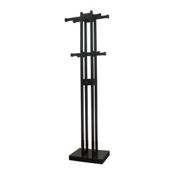 Proman Products - Kobe Coat Tree w Key Box in Dark Walnut Finis - 4 Sliding road with 8 wood pegs for hanging. Solid wood. Beautifully hand-crafted and hand-painted. All paints used are lead-free and non-toxic. Minimal assembly required. 15 in. W x 11 in. D x 67 in. H