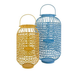 """IMAX CORPORATION - Faisley Metal Candle Laterns - Set of 2 - In blue and yellow colors, this set of two Faisely metal candle lanterns adds a cheerful touch to any room! Holds pillar candles. Set of 2 in various sizes measuring around 12.25""""L x 12.25""""W x 22.5""""H each. Shop home furnishings, decor, and accessories from Posh Urban Furnishings. Beautiful, stylish furniture and decor that will brighten your home instantly. Shop modern, traditional, vintage, and world designs."""