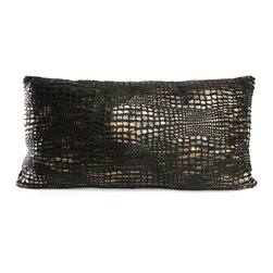"Brandi Renee Designs - Mozambique Animal Black Print Design Pillow 10"" x 20"" Oblong - Our charcoal black animal print pillow design has vibrant hues of dark black, bronze and a soft touch of gold and its amazingly soft and comfy feel never fails to draw to your attention. This croc pillow shouts luxurious and adds that extra touch of fashion to any room."