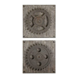 Uttermost - Uttermost Rustic Gears Wall Art, Set of 2 - 13828 - Uttermost's metal wall art combines premium quality materials with unique high-style design.