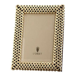 L'Objet - L'Objet Gold Plated Braid Frame 8x10 - L'Objet is best known for using ancient design techniques to create timeless, yetdecidedly modern serveware, dishes, home decor and gifts. 14k Gold Plated Photo Frame Beveled Glass Wrapped in Genuine Leather Stands Horizontally or Vertically Each frame is meticulously handcrafted and detailed with beveled glass, satin liner, leather back, and decorative closures.