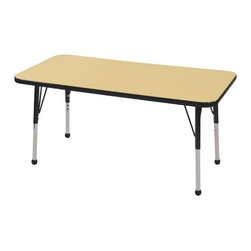 "ECR4Kids - 24"" x 48"" Rectangular Adjustable Activity Table in Maple - ECR adjustable leg activity tables feature 1.125 thick tabletops with laminate on both the top and bottom. Color-coordinated powder-coated upper legs, edgebanding, and matching polypropylene ball glides in the most popular classroom colors. Will not fade or discolor. Safe, non-toxic, stain-resistant and easy to clean. Tabletop Details: -Laminate table tops are 1.125 thick and are laminated on both sides. -Color-banding grips into the tabletop edges. -Color banding is made from PET and contains no phthalates. -The table substructure is made from medium-density particleboard (47 lb/ft³) that is at least 90% recycled (minimum 4% post-consumer, balance pre-consumer).. -EPP certified, CARB compliant and may contribute to US Green Building Councils LEED Credits. -18 gauge galvanized steel stability bars, with poly caps, installed on underside of all 66 - 72 length tables. -Superior shipping materials meet or exceed ISTA regulations. Leg Details: -Powder-paint coated upper leg. -Chrome-plated adjustable lower leg insert. -Legs are adjustable in 1 increments. -Threaded adjustment holes in chrome lower leg keeps legs securely in place. -Color coordinated polypropylene ball glides and nylon swivel glides available. -Easy mount leg installation with pre-installed brackets and pre- drilled screw holes for easy alignment. -Toddler Leg size (15"" - 23""). -Standard Leg size (19"" - 30""). -Chunky Leg size (15"" - 24"")."