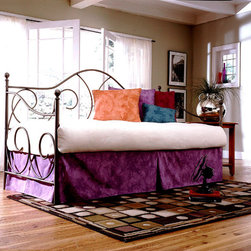 Leggett/Platt Fashion Bed - The Cordial Daybed w Link Spring (Flint) - Finish: FlintEnjoy this classically elegant metal daybed in your choice of two attractive finishes.  The inviting camelback styling features decorative scrollwork and turned finials.  Includes frame and link-spring unit.  Mattress, pillows and coverlet not included.  Sturdy metal, easy to assemble, this quality selection is perfect for teenagers and young adults who are space conscious, stylish and smart. * Included: Daybed Frame and Link Spring . Finish: Antique White or Flint (pictured). Not included: Mattress and linens. Brass, plated brass, painted metal or finished wood components comes with a manufacturer 10 yr limited warranty. 48 in. H x 79 3/8 in. W x 39 1/2 in. D