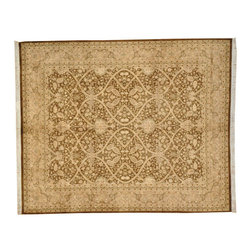 100% Wool 8X10 Brown Pak-Persian Rug, 300 Kpsi Hand Knotted Oriental Rug SH7163 - This collection consists of fine knotted rugs.  The knots per square inch means more material in the rug as well as more labor.  This leads to a finer rug and a more expoensive rug.  Classical and traditional persian motifs are usually used as designs in these rugs.