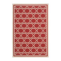 Safavieh - Safavieh Poolside Red/ Bone Indoor Outdoor Rug (6'7 x 9'6) - This eye-catching and easy-to-maintain propylene indoor/outdoor rug is perfect for high-traffic areas or spots exposed to the elements. The bone and red patterned rug is not only stylish,it is also resistant to mold,mildew,sun,and water.