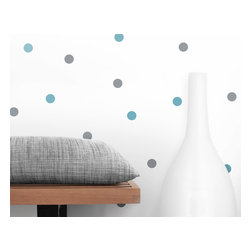 """OLLI+LIME - Dot Wall Decals, Blue/Gray - Dot design wall decals in high-quality self-adhesive Oracal 631 vinyl. Each pack includes 25 blue / 25 gray 1"""" diameter dots."""