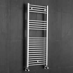 Hudson Reed - Flat Chrome Heated Bathroom Towel Rack 47.25 inch x 19.5 inch - This flat Ladder Style Heated Towel Warmer, with a high quality chrome finish, produces a heat output of 371 Watts (1,265 BTUs), enough to keep your towels warm and heat a small bathroom or cloakroom.Supplied complete with a fixing pack for wall mounting, this minimalist towel rail has 23 horizontal rungs and provides a functional and stylish centrepiece to any contemporary setting. This product is from the Kudox Premium range and has 0.86 bars which give both a higher output and improved aesthetics. Manufactured by an ISO 9001 registered company.Suitable for closed loop heating systems, the 47.25 x 19.5 Kudox Heated Bathroom Towel Rail connects to your heating system via the radiator valves included, please choose either straight or angled. Kudox Chrome Flat Heated Bathroom Towel Radiator Rail 47.25 x 19.5 Details  Dimensions: (H x W x D) 47.25 (1200mm) x 19.5 (500mm) x 3 (75mm) Output: 371 Watts (1,265 BTUs) Number of cross-bars: 23 with a thickness of 0.86 (22mm), divided into 3 sections of 4, 5, 14 Pipe Centres: 18 (460mm) Fixing Pack Included Suitable for bathroom, cloakroom, kitchen etc. Expertly plated with high quality 62.5 micron chrome on copper plated mild steel, with swagged oven brazed joints. Tested to BS EN442 - 140 psi maximum working pressure 5 Year Guarantee (12 months for surface finish) Please note: Radiator valves are included, please choose either straight or angled radiator valves.  Buy now, to transform your bathroom, at an affordable price. Please Note: Our radiators are designed for forced circulation closed loop systems only. They are not compatible with open loop, gravity hot water or steam systems.