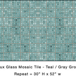 Casart coverings - Teal Faux Glass Mosaic Tile - Backsplash size. Full rm / wall coverage rolls available on regular repositionable, removable and reusable wallcovering or Casart Clear, which allows the base paint color to shine through.