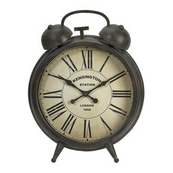 iMax - iMax Matthews Oversized Clock - Nearly three feet high, Matthews oversized clock adds personality to any room. This table clock is finished in an aged black finish and has an antiqued face design.
