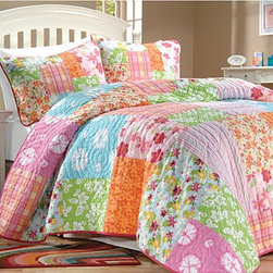 None - Aloha Girl's Multicolor Printed Cotton Pieced 3-piece Quilt Set - This multi-colored floral quilt set would be perfect for a young girls room. The quilt is available in twin or full sizes and includes one sham in the twin set and two shams in the full-sized set. The 100 percent cotton bedding is machine washable.