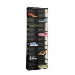Richards Homewares - Black 26 Pair Over the Door Shoe Rack - This 26 Pair Shoe Rack hangs right over the door, saving valuable space and offering an easy to use shoe organizer for the home! Use it in the closet to store purses, scarves, accessories and shoes with ease. This over the door organizer is great for the whole family, let the kids have the lower shelves and the adults the upper levels. Made of polyester with mesh shelves for breathability and visibility! Includes 3 over-the-door hooks for sturdiness and stability.