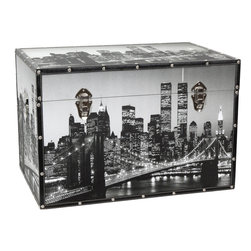 Oriental Furniture - New York Scenes Trunk - The iconic New York City skyline is captured in its heyday on this cleverly designed canvas trunk. Printed on photo-quality natural canvas, this chest features a historical photograph of the Brooklyn Bridge and lower Manhattan lit by the city lights at night. Designed for your convenience, this trunk features an inconspicuous interior arm that holds the lid when you need it open, and a pair of external closures that keep it shut tight when you don't. The sturdy, yet highly portable kiln-fired wood frame surrounds a spacious fabric-lined interior that is perfect for storing and protecting your cherished possessions. The durable, tear resistant canvas is protected with riveted faux leather edges to provide you with a stylish chest that is built to last. Add the cosmopolitan glamor of Manhattan's night life to your home or office today!