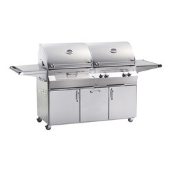 Fire Magic - Fire Magic Aurora A830s Cabinet Grill Multicolor - A830S - Shop for Grills from Hayneedle.com! The Fire Magic Aurora A830s Cabinet Grill presents you with an all-in-one way to ensure the perfect meal. This combination grill features two sides: a natural gas/propane side and a charcoal burning side. The propane grill features two burners and a recessed back-burner for a total of 63 000 BTUs of cooking power. The charcoal grill comes with crank operated coal basket that makes tending to the grill a cinch; charcoal grill produces 26 000 BTUs. A smoker drawer lets you heat wood chips juices marinades and wine to add bountiful flavoring. The control knobs are each back-lit for safety and convenience. Under grill storage is provided by two doors and a storage drawer. Caster wheels make moving the unit simple.About Fire MagicFire Magic understands more about the amazing things that happen when flame and good food meet. For the last 70 years they've set out to create the singularly best way to cook food outdoors using the highest-quality materials innovative design and an absolutely relentless pursuit of perfection. With a complete line of luxury-grade grills burners accessories and built-in grill island components Fire Magic is ready to turn your home into the world's best outdoor kitchen.