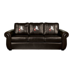 Dreamseat Inc. - Barrel Rider Chesapeake Black Leather Sofa - Check out this Awesome Sofa. It's the ultimate in traditional styled home leather furniture, and it's one of the coolest things we've ever seen. This is unbelievably comfortable - once you're in it, you won't want to get up. Features a zip-in-zip-out logo panel embroidered with 70,000 stitches. Converts from a solid color to custom-logo furniture in seconds - perfect for a shared or multi-purpose room. Root for several teams? Simply swap the panels out when the seasons change. This is a true statement piece that is perfect for your Man Cave, Game Room, basement or garage.