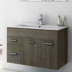 ACF - 32 Inch Vanity Cabinet With Fitted Sink - Set Includes:. Vanity Cabinet (2 Doors,2 Drawers). High-end fitted ceramic sink. Vanity Set Features . Vanity cabinet made of engineered wood. Cabinet features waterproof panels. Vanity cabinet in larch canapa, grey oak finishes. Cabinet features 2 doors, 2 soft-closing drawers. Faucet not included. Perfect for modern bathrooms. Made and designed in Italy. Includes manufacturer 5 year warranty.