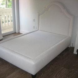 Custom Design Platform Bed - Upholstered Platform Bed in Belgium linen