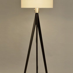 NOVA Lighting - Tripod Floor Lamp - Picture perfect. Classically modern elements converge to offer a strikingly contemporary statement. Blending straight and sturdy lines of a tripod base with the soft neutral accent of a white linen shade, this design lends a hint of simple elegance to any room.