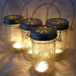 Four Glass Quilted Mason Jar Lanterns Candle Holder Outdoor Lighting -