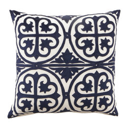 "Horchow - Navy & White ""Venice"" Collection 22""Sq. Pillow - NAVY/WHITE - Navy & White ""Venice"" Collection 22""Sq. Pillow"