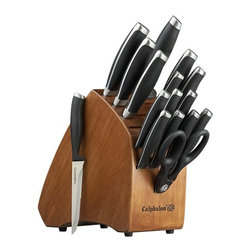 Calphalon® Contemporary 17-Piece Block Set - A complete cutlery collection—including santoku, shears and steak knives—with Calphalon's renowned construction, performance and style. High-carbon German stainless steel knives feature full-tang, forged blades and the name of each etched into the handle. Knives are fully tapered from cutting edge to spine, from tip to heel, for superior strength and versatility. Ergonomic handles have bolsters for added weight and balance as they protect your hands.