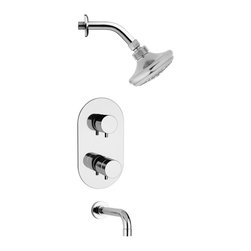 Remer - Round Chrome Shower System - 3 Function tub and shower faucet.
