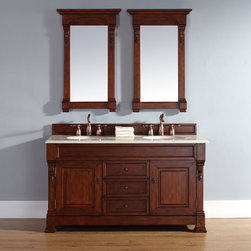 60 Inch Brookfield Double Vanity with Warm Cherry Finish - Please note: Vanities are priced with no vanity top. Multiple vanity top options available.