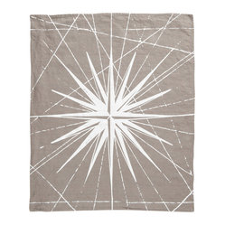 Montauk Compass Rose Hand Towel, Stone/White