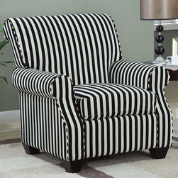 Coaster - 902085 Accent Chair - This black and white stripe accent chair with plush seating is sure to make a bold statement. Pair with any of our black or white sofa sets.