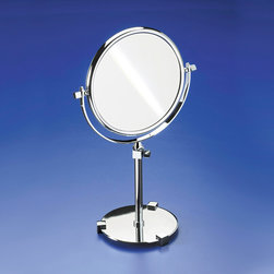 Windisch - Pedestal Double Face 3x Gold Magnifying Mirror - Contemporary style free standing double face (regular and magnifying) mirror. Mirror is available in a gold finish with 3x magnifications. Decorative magnified mirror, made in quality brass. Optical mirror finished in gold. Made in Spain by Windisch. Part of the Windisch Mirror Collection collection.
