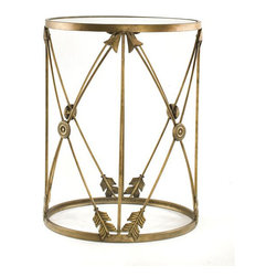 None - 'Arrows' Large Metal Barrel End Table - Lend a graceful air to your sun room or atrium by adding this metal barrel table. An open design featuring arrow accents makes this piece a conversation starter,while the antiqued bronze finish helps it blend into any traditional decorating style.