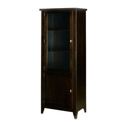 A.A. Laun Furniture - Tribeca Entertainment Tower w 3 Shelves (Coffee) - Finish: Coffee. Pictured in Coffee color. Contemporary style. 1.5 in. solid maple top. Two door. Graceful profiled legs. Maple veneer sides, rails and shelves. Made by traditional quality craftsmanship. Made from solid maple wood. Made in USA. 27 in. W x 17 in. D x 70 in. HTribeca is our metropolitan group with contemporary brushed nickel pulls.