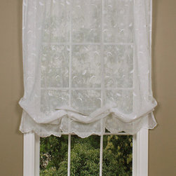 Commonwealth Home Fashions - Habitat White 54 x 63-Inch Hathaway Balloon Single Curtain - - Scroll motif embroidery  - 1.5-inch header  - 1.5-inch rod pocket  - 0.5-inch side hems  - Scalloped bottom  - Four columns of adjustable rings  - Pocket Construction: Rod pocket  - Additional Necessary Hardware: Rod  - Laundry Instruction: Washable Commonwealth Home Fashions - 70005220054063001