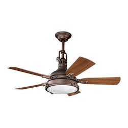 "DECORATIVE FANS - DECORATIVE FANS Hatteras Bay Patio 44"" Transitional Indoor/Outdoor Ceiling Fan X - From the Hatteras Bay Collection, this Kichler Lighting outdoor ceiling fan blends warm finishes with a unique, industrial-influenced look: the Fresnel lens features a clear glass exterior with a gloss white interior that compliments the Weathered Copper Powder Coat finish and coordinating reversible light and dark walnut fan blades."