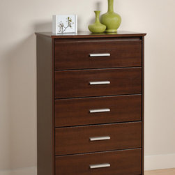 None - Yaletown 5-drawer Espresso Chest - Place a contemporary five-drawer chest like this in your bedroom for additional storage and a touch of subtle sophistication in a cozy setting. This piece of furniture can help you organize your shirts,socks,and other garments in a trendy way.