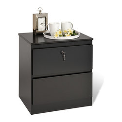 Prepac - Escala Black Two-drawer Locking Night Stand - This sleek black two-drawer night stand from Escala can add contemporary elegance and shine to any bedroom. This wood nightstand looks great and features a locking top drawer for security and metal drawer slide construction with safety stops.