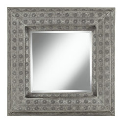 """Lamps Plus - Asian Taneka Pounded Metal 29 1/4"""" High Square Wall Mirror - Add modern class to your home with this minimal mirror. The mirror glass is surrounded by silver metal wiring spun around the edge and fashioned into simple petals. Elegant and sleek. Metal frame. Painted metallic finish. Metal openwork. 37 1/2"""" high. 2"""" depth. Beveled mirror glass is 20"""" wide. Hang weight 7 pounds.  Metal frame.   Antique silver finish.   Openwork.  Beveled mirror glass.   29 1/4"""" high.  2 1/2"""" deep.  Mirror glass is 16 1/2"""" wide.    Hang weight 7 pounds."""