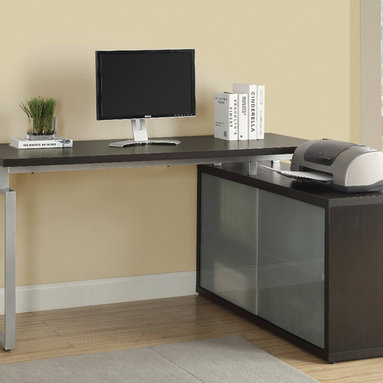 """Monarch - Cappuccino Hollow-Core """"L"""" Shaped Desk With Frosted Glass - This simple yet practical """"hollow-core"""" desk is the perfect addition to your home office. The capuuccino finished desk can conveniently be placed on the left or right side offering you multi functionality. The underside provides you with space to store office supplies, papers, books, files folders, and plenty more behind beautiful frosted glass doors.. Use the spacious top for your computer, a lamp and even some pictures. This large work station with fit in perfectly into any space.; Material: Wood; Dimensions: 60""""L x 48""""W x 30.75""""H"""