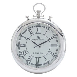 Benzara - Wall Clock Simple Classic Design in Round Shape - Flaunting a simple classic design, this Metal Nickel Plated Wall Clock is an excellent choice of accessory for all kinds of interiors. This stylish wall clock offers a versatile style that makes it suitable for blending in with various decors and settings. This stylish clock features a round shape that includes a white dial and Roman numerals to give it a vintage appeal. It is finished with nickel plating which gives it a stunning appearance that is versatile in style and can be blended in with all kinds of decors perfectly. This elegant clock is made from high quality metal to ensure a long lasting build. Crafted with fine detailing, this elegant clock includes minimal styling to give it a simplistic, yet attractive appearance.