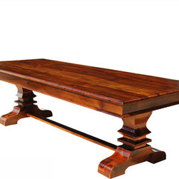 Trestle Pedestal Large Wood Transitional Rectangular Dining Table for 10 - You'll find the large trestle dining table a great fit for your growing family, with plenty of room for everyone come dinner time.