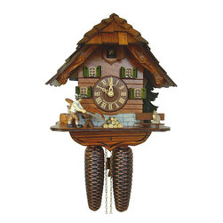 Schneider Cuckoo Clocks - 8-Day Black Forest House Moving Lumberjack Cuckoo Clock - Chalet style. 8-day rack strike movement. Cuckoo calls and strikes every half and full hour. Wooden cuckoo, dial with roman numerals and hands. Shut-off lever on left side of case silences strike, call and music. Made from wood. Antique finish. Made in Germany. 9.5 in. W x 6.7 in. D x 9.8 in. H (11.5 lbs.). Care Instructions